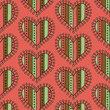 Decorative stripe heart seamless pattern on a pink background Stock Image