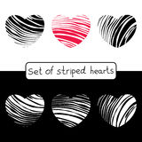 Decorative striped hearts for your design Stock Image