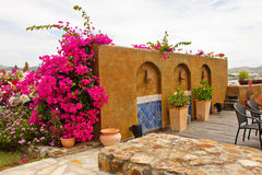 Decorative Stucco Wall at Garden Patio Stock Photos