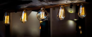 Decorative  style filament light bulbs. In view Stock Photo