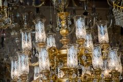 Decorative  style filament light bulbs. In view Royalty Free Stock Photography