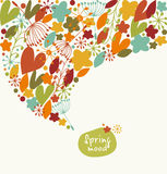 Decorative stylish banner. Ornate border with hearts, flowers leaves. Design element with many cute details. Stock Photos