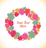 Decorative stylish round garland. Ornate vector wreath with flowers, berries, leaves and summer details. Royalty Free Stock Images