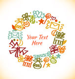 Decorative stylish round garland. Ornate wreath with gifts, letters, love symbols Royalty Free Stock Images