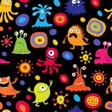 Decorative stylish seamless pattern with aliens and stars royalty free illustration
