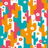 Decorative stylized cactus seamless abstract pattern. With flowers Royalty Free Illustration