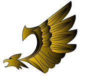 Decorative, stylized, gold(en) eagle. Royalty Free Stock Photography
