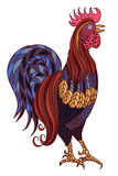 Decorative stylized hand-drawn rooster isolated on white background. Symbol of Chinese New Year 2017 Stock Photography
