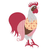 Decorative stylized hand-drawn rooster isolated on white background Stock Photography