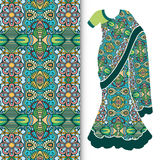Decorative stylized Indian sari women's ethnic. Dress with seamless ornamental pattern Stock Photo