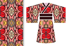 Decorative stylized Japanese kimono ethnic clothes. With seamless floral pattern Royalty Free Stock Photos