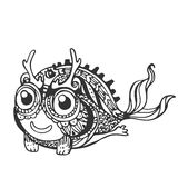 Funny cute amphibious monsters, black and white, line. Decorative stylized mystical creatures, drawing by hand. Vector illustration for design, stencil, print on Royalty Free Stock Photography