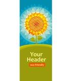 Decorative stylized sunflower poster template. Stock Photo