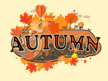 Decorative stylized  title. Autumn, vector illustration Stock Photography