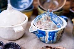 Decorative sugar-bowl and teapot Stock Photo