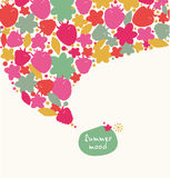 Decorative summer banner. Ornate border with hearts, flowers, leaves. Design element with many cute details stock illustration