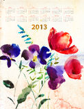 Decorative summer flowers. Calendar for 2013 with decorative summer flowers stock illustration