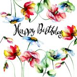 Decorative summer flowers with Happy Birthday Royalty Free Stock Photography