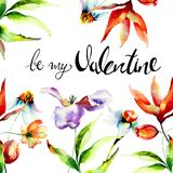 Decorative summer flowers with title be my Valentine. Watercolor illustration, Hand drawn lettering design Stock Photos