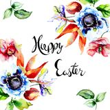 Decorative summer flowers with title happy easter Stock Images