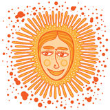 Decorative sun with a human face Royalty Free Stock Images