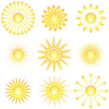 Decorative sun symbols. Royalty Free Stock Image