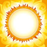 Decorative sun vector background. Bright fiery sun on yellow-orange decorative sky with round place for text in the center of the sun Royalty Free Stock Photography