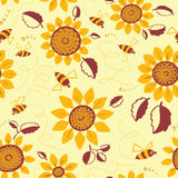 Decorative sunflowers with bees seamless pattern. Decorative vector sunflowers seamless pattern. Summer flowers and cute bees background. Doodle decor style vector illustration