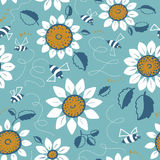 Decorative sunflowers with bees seamless pattern. Decorative vector sunflowers seamless pattern. Summer flowers and cute bees background. Doodle decor style Royalty Free Stock Images