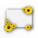 Decorative sunflowers card. With room for your text Stock Photos