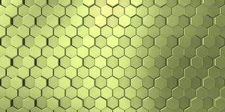 Yellowish color in decorative surface with bright hexagons stock photo