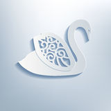 Decorative swan with shadow, 3d effect. Royalty Free Stock Photo