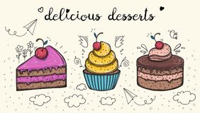 Decorative sweets food delicious dessert set vector illustration Royalty Free Stock Photo