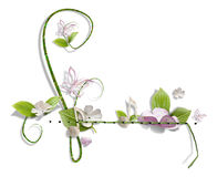 Decorative swirl. With paper flowers and butterflies Royalty Free Stock Photography