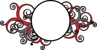 Decorative swirls with round frame. Round frame surrounded by decorative red swirls stock illustration