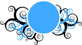 Decorative swirls with round frame. Round frame surrounded by decorative bue and black swirls stock illustration