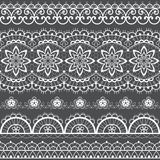 French or English lace seamless pattern set, white ornamental repetitive design with flowers - textile design. Decorative symmetric lace repetitive ornaments vector illustration