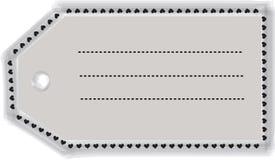 Decorative tag-shaped frame border with hearts Stock Photo
