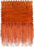 Decorative tapestry with grunge striped wavy pattern and long fluffy fringe in orange,brown colors stock illustration