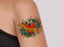 Decorative tattoo on female arm. Heart with flowers and ribbon. Mother tattoo. Realistic illustration for tattoo parlor.  Royalty Free Stock Photos