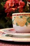 Decorative tea cup and plates Stock Photography