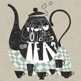 Decorative teapot and cups, phrase Royalty Free Stock Images