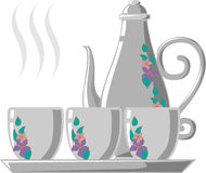 Decorative teapot set. Illustration of teapot set with cups and floral design, white background Royalty Free Stock Images