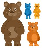 Decorative teddy bears icons set Stock Image