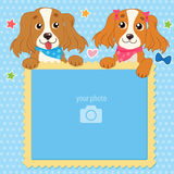 Decorative Template For Baby, Family Or Memories. Two Shaggy Dogs With Vector Photo Frame. Children`S Photo Framework. Stock Image