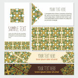 Decorative template banner and card set with ornate abstract. Decorative template banner and card set vector illustration