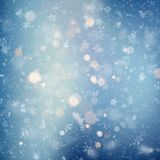 Decorative template Christmas background with snow and bokeh lights. Magic holiday abstract glitter background with stock illustration