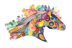 Quilling horse head. Decorative template of horse head made by quilling or quilled paper coils royalty free stock photos