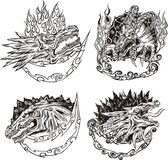 Decorative templates with dragon heads Royalty Free Stock Photo