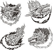 Decorative templates with dragon heads Stock Images